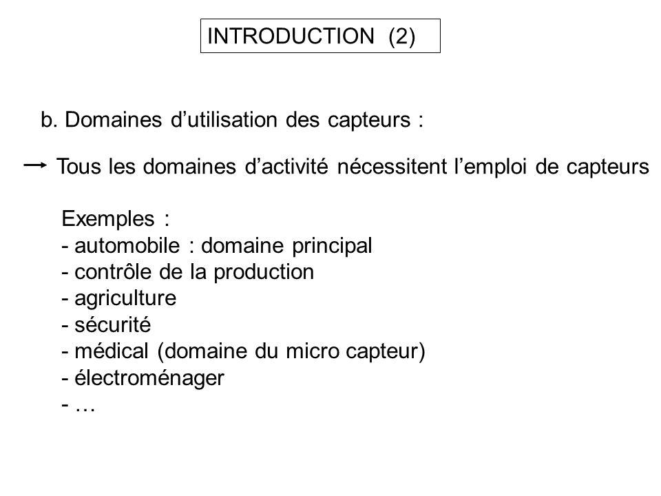 b. Domaines dutilisation des capteurs : Tous les domaines dactivité nécessitent lemploi de capteurs Exemples : - automobile : domaine principal - cont