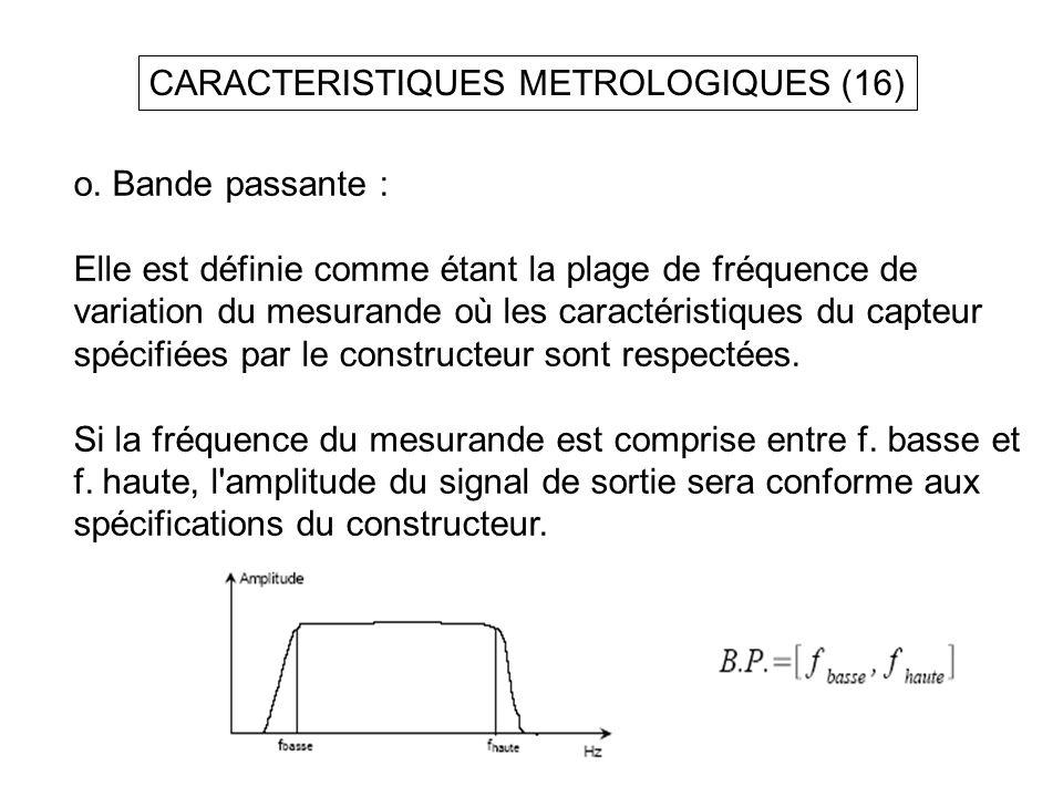 CARACTERISTIQUES METROLOGIQUES (16) o. Bande passante : Elle est définie comme étant la plage de fréquence de variation du mesurande où les caractéris