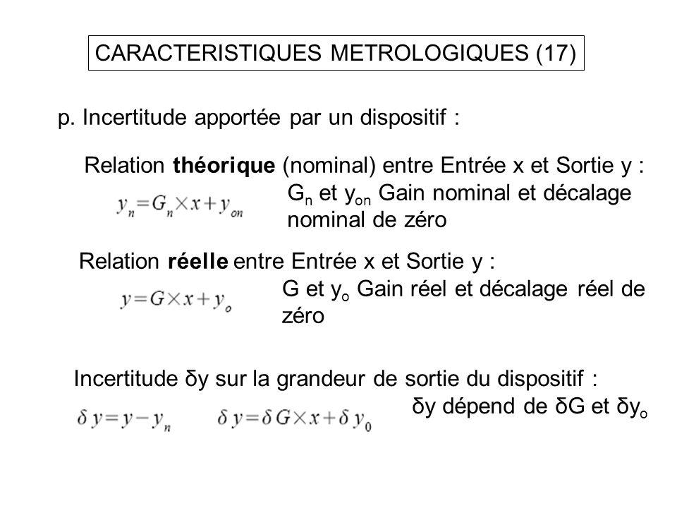 CARACTERISTIQUES METROLOGIQUES (17) p. Incertitude apportée par un dispositif : Relation théorique (nominal) entre Entrée x et Sortie y : G n et y on