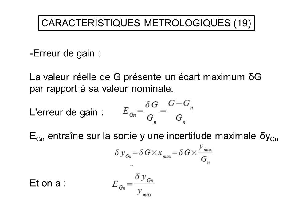 CARACTERISTIQUES METROLOGIQUES (19) -Erreur de gain : La valeur réelle de G présente un écart maximum δG par rapport à sa valeur nominale. L'erreur de