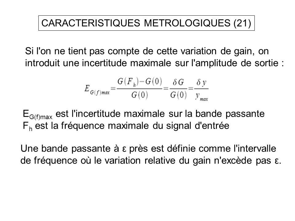 CARACTERISTIQUES METROLOGIQUES (21) Si l'on ne tient pas compte de cette variation de gain, on introduit une incertitude maximale sur l'amplitude de s