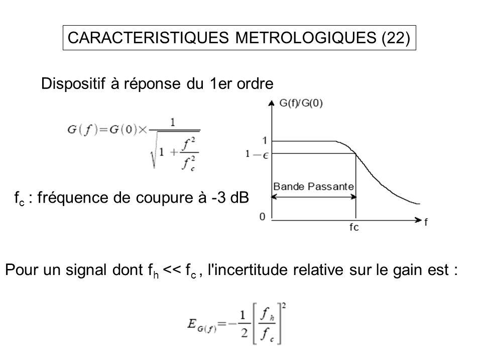 CARACTERISTIQUES METROLOGIQUES (22) Dispositif à réponse du 1er ordre f c : fréquence de coupure à -3 dB Pour un signal dont f h << f c, l'incertitude