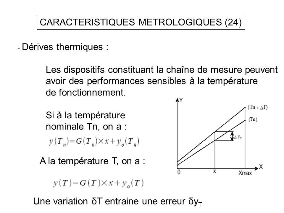 CARACTERISTIQUES METROLOGIQUES (24) - Dérives thermiques : Les dispositifs constituant la chaîne de mesure peuvent avoir des performances sensibles à