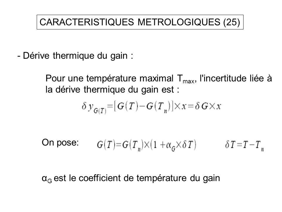 - Dérive thermique du gain : Pour une température maximal T max, l'incertitude liée à la dérive thermique du gain est : CARACTERISTIQUES METROLOGIQUES