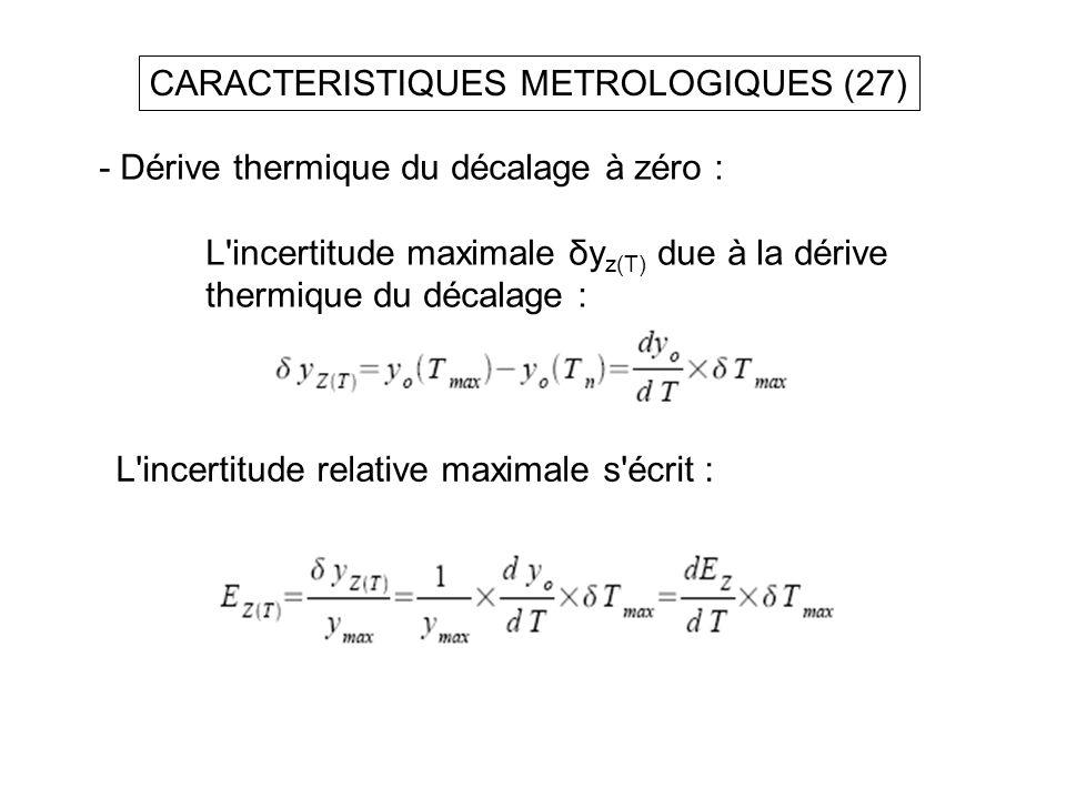 CARACTERISTIQUES METROLOGIQUES (27) - Dérive thermique du décalage à zéro : L'incertitude maximale δy z(T) due à la dérive thermique du décalage : L'i