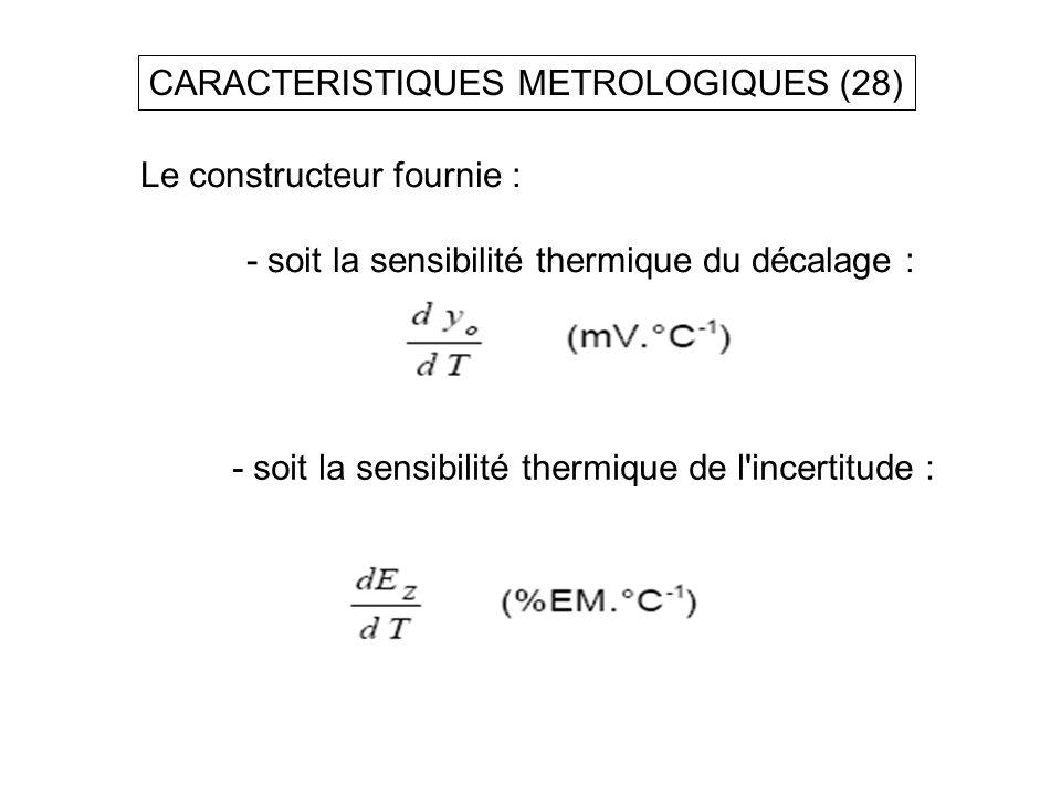 CARACTERISTIQUES METROLOGIQUES (28) Le constructeur fournie : - soit la sensibilité thermique du décalage : - soit la sensibilité thermique de l'incer