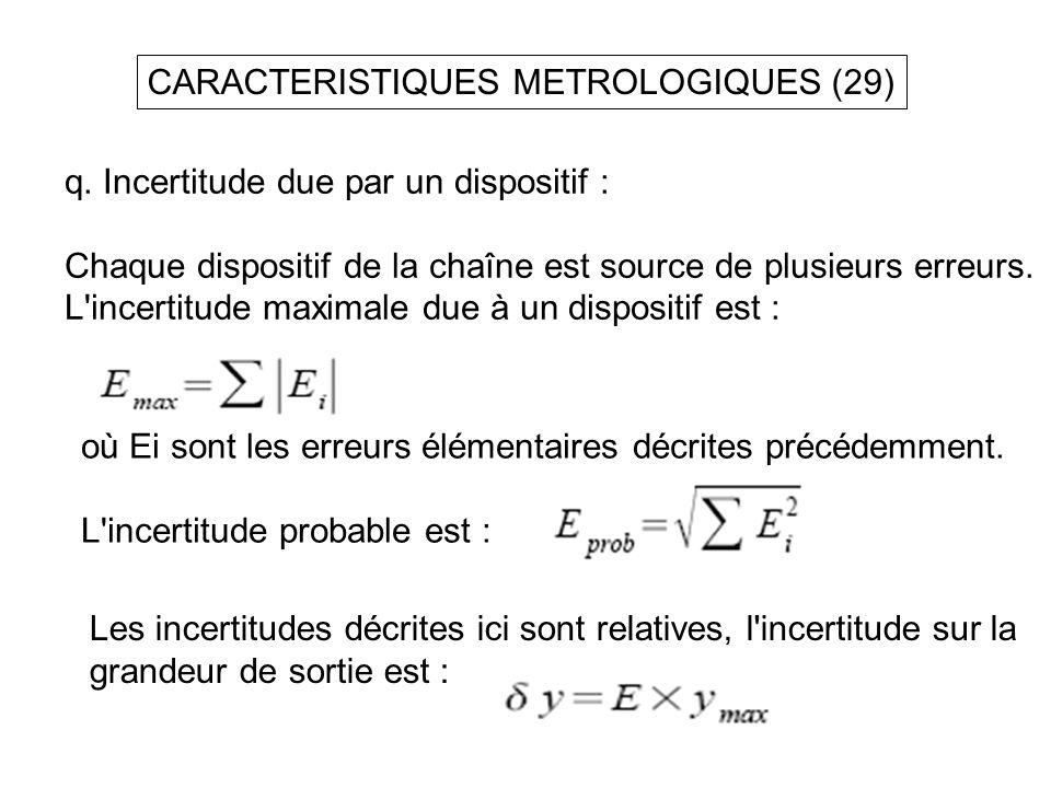 CARACTERISTIQUES METROLOGIQUES (29) q. Incertitude due par un dispositif : Chaque dispositif de la chaîne est source de plusieurs erreurs. L'incertitu