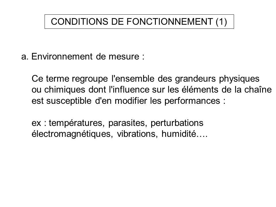 CONDITIONS DE FONCTIONNEMENT (1) a. Environnement de mesure : Ce terme regroupe l'ensemble des grandeurs physiques ou chimiques dont l'influence sur l
