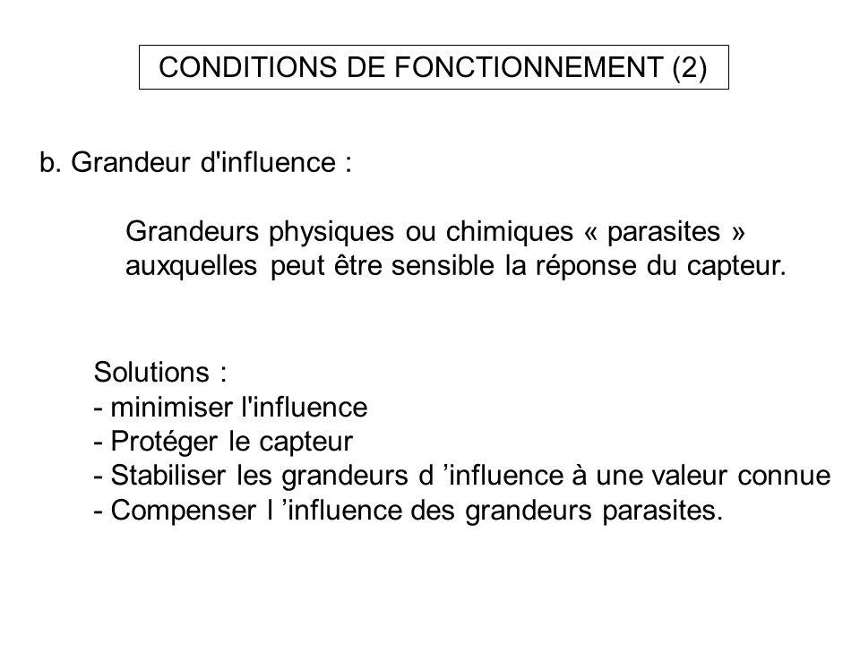 CONDITIONS DE FONCTIONNEMENT (2) b. Grandeur d'influence : Grandeurs physiques ou chimiques « parasites » auxquelles peut être sensible la réponse du