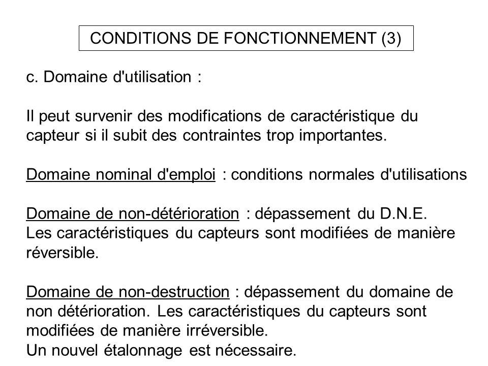 CONDITIONS DE FONCTIONNEMENT (3) c. Domaine d'utilisation : Il peut survenir des modifications de caractéristique du capteur si il subit des contraint