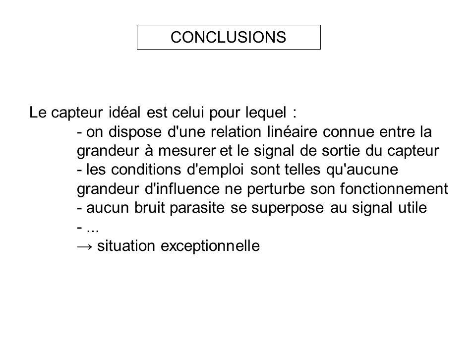 CONCLUSIONS Le capteur idéal est celui pour lequel : - on dispose d'une relation linéaire connue entre la grandeur à mesureret le signal de sortie du