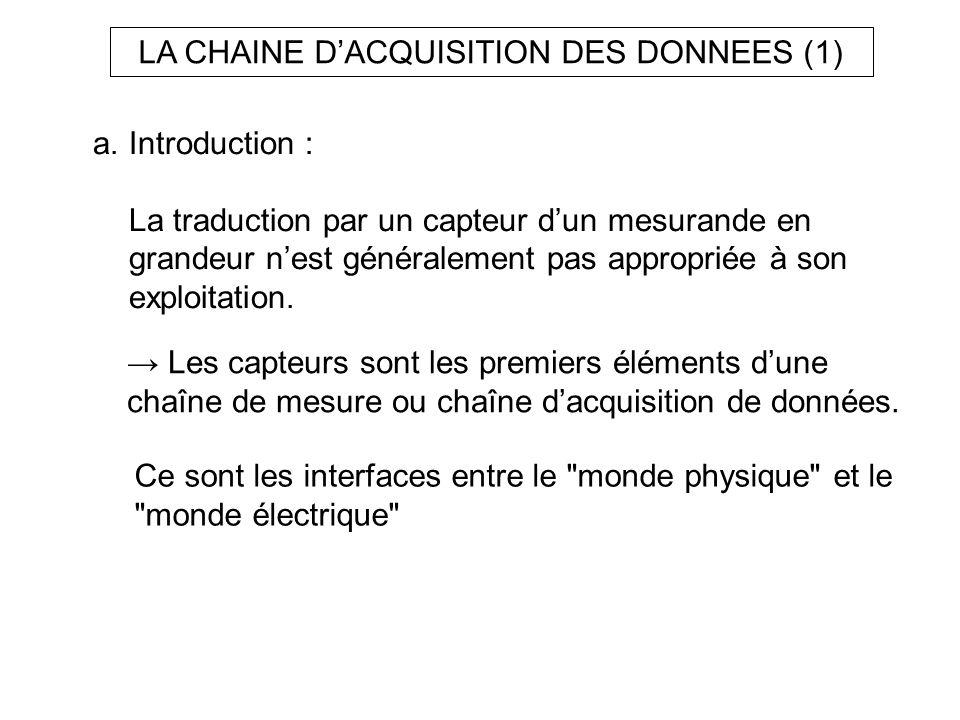 a.Introduction : La traduction par un capteur dun mesurande en grandeur nest généralement pas appropriée à son exploitation. Les capteurs sont les pre
