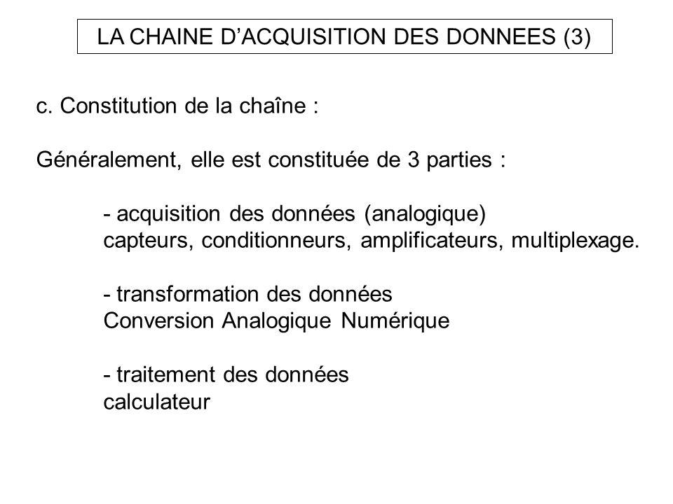 c. Constitution de la chaîne : Généralement, elle est constituée de 3 parties : - acquisition des données (analogique) capteurs, conditionneurs, ampli