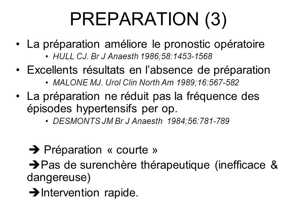 PREPARATION (3) La préparation améliore le pronostic opératoire HULL CJ. Br J Anaesth 1986;58:1453-1568 Excellents résultats en labsence de préparatio
