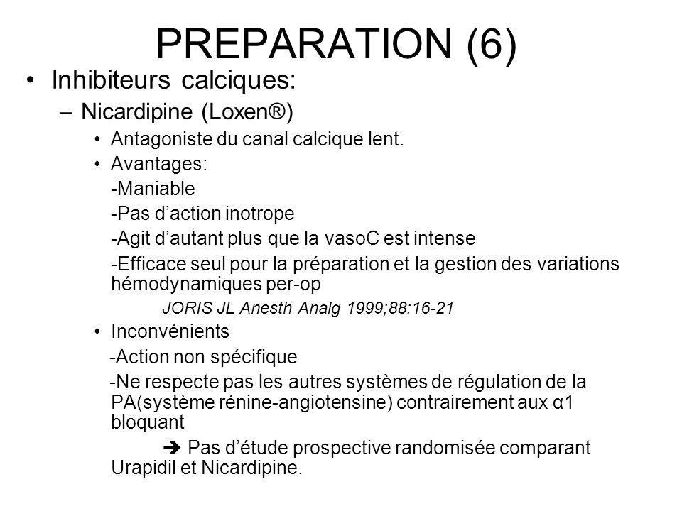 PREPARATION (6) Inhibiteurs calciques: –Nicardipine (Loxen®) Antagoniste du canal calcique lent. Avantages: -Maniable -Pas daction inotrope -Agit daut