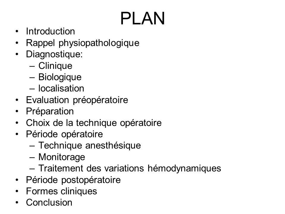 PLAN Introduction Rappel physiopathologique Diagnostique: –Clinique –Biologique –localisation Evaluation préopératoire Préparation Choix de la techniq