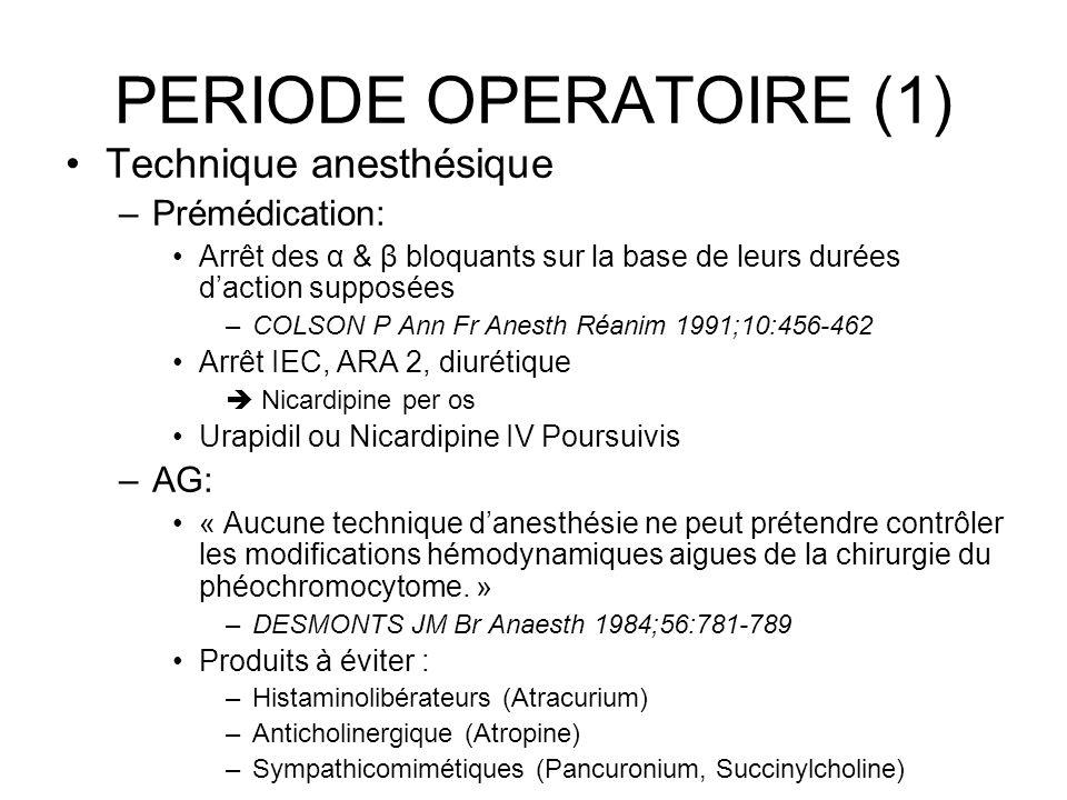 PERIODE OPERATOIRE (1) Technique anesthésique –Prémédication: Arrêt des α & β bloquants sur la base de leurs durées daction supposées –COLSON P Ann Fr