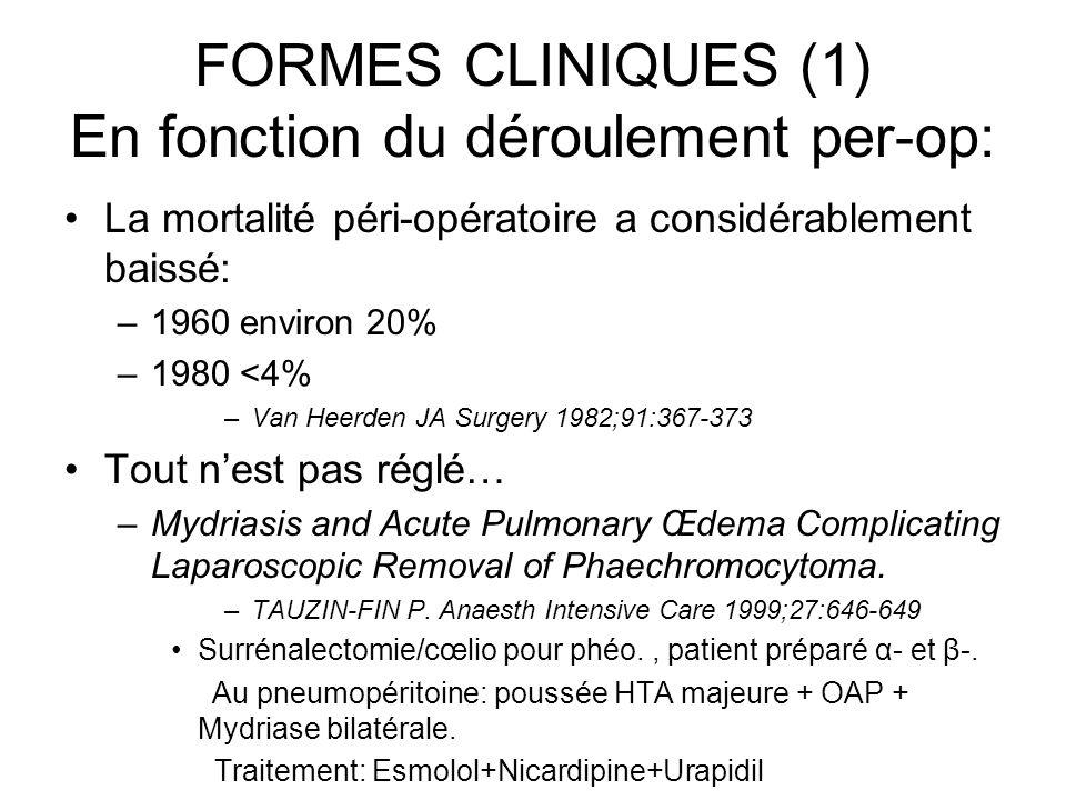 FORMES CLINIQUES (1) En fonction du déroulement per-op: La mortalité péri-opératoire a considérablement baissé: –1960 environ 20% –1980 <4% –Van Heerd