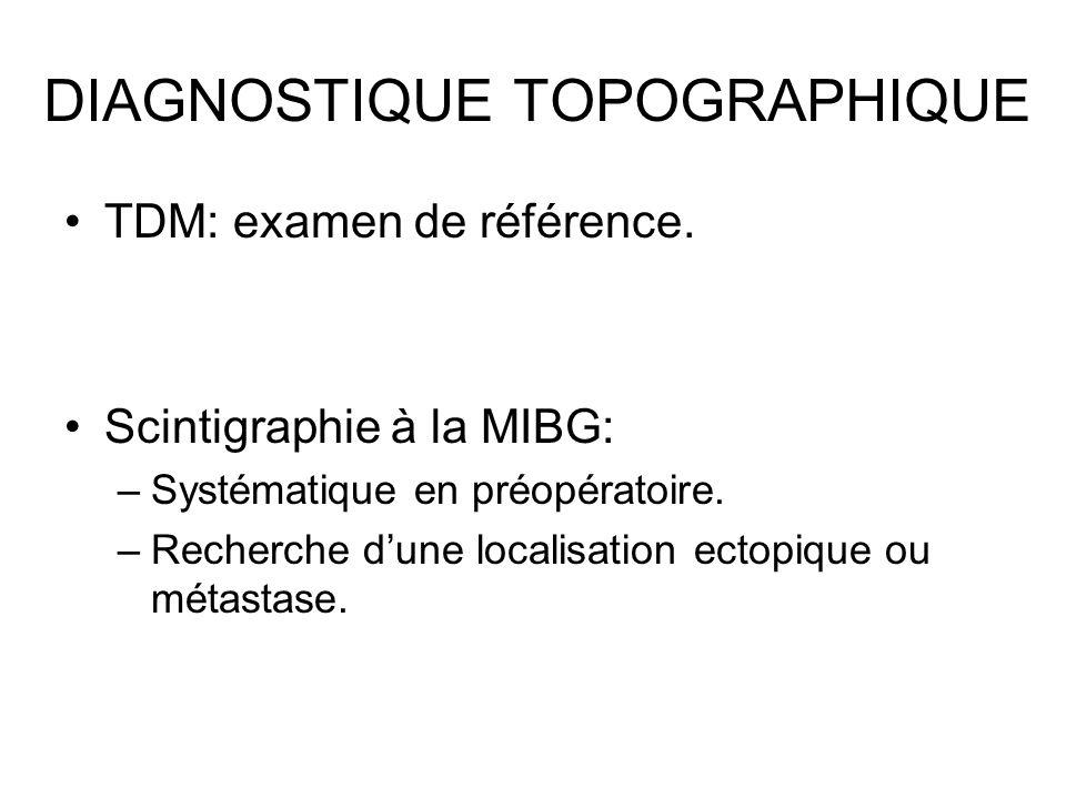 DIAGNOSTIQUE TOPOGRAPHIQUE TDM: examen de référence. Scintigraphie à la MIBG: –Systématique en préopératoire. –Recherche dune localisation ectopique o