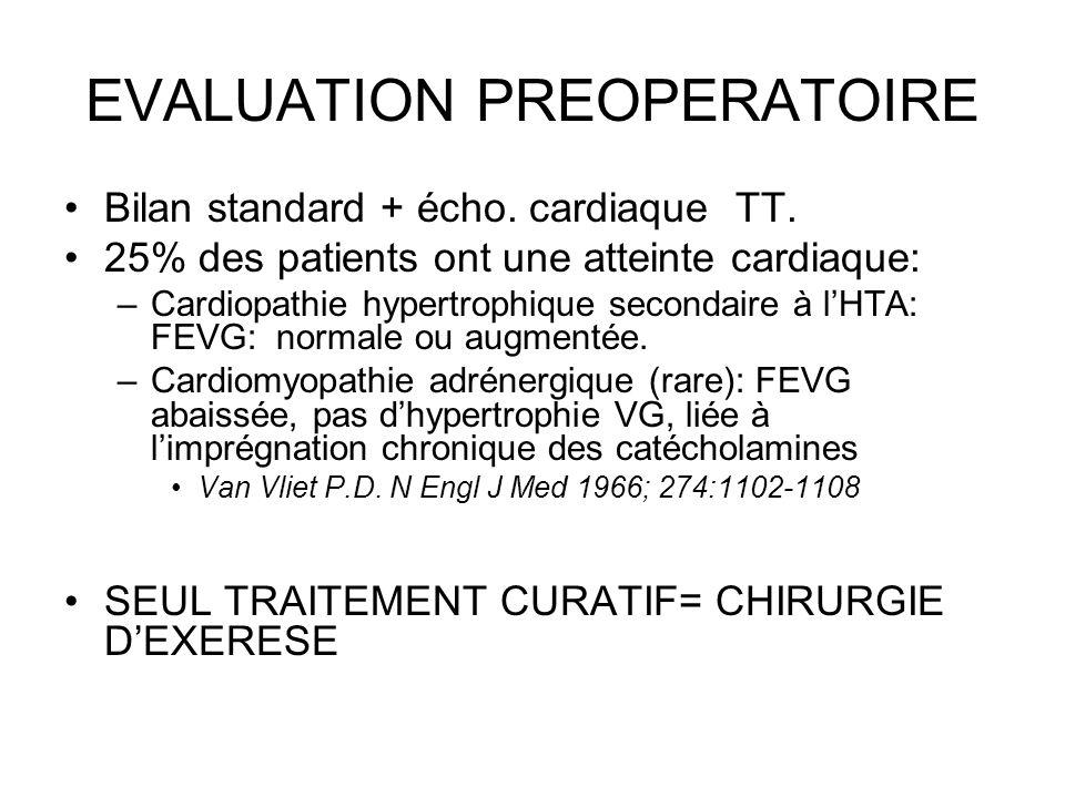EVALUATION PREOPERATOIRE Bilan standard + écho. cardiaque TT. 25% des patients ont une atteinte cardiaque: –Cardiopathie hypertrophique secondaire à l