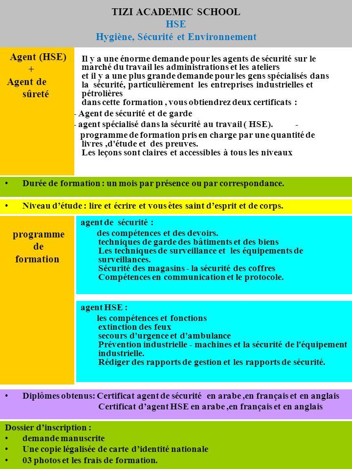 programme de formation basée sur le renforcement des compétences professionnelles conformes à la description du travail et les normes internationales de la sécurité.