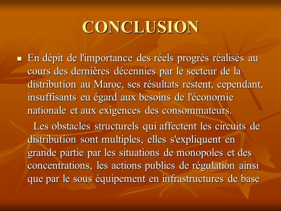 CONCLUSION En dépit de l'importance des réels progrès réalisés au cours des dernières décennies par le secteur de la distribution au Maroc, ses résult
