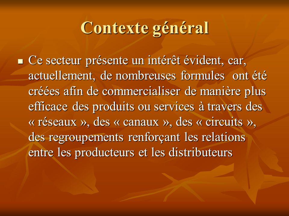 Contexte général Ce secteur présente un intérêt évident, car, actuellement, de nombreuses formules ont été créées afin de commercialiser de manière pl