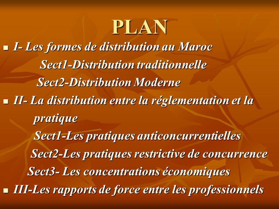 PLAN I- Les formes de distribution au Maroc I- Les formes de distribution au Maroc Sect1-Distribution traditionnelle Sect1-Distribution traditionnelle