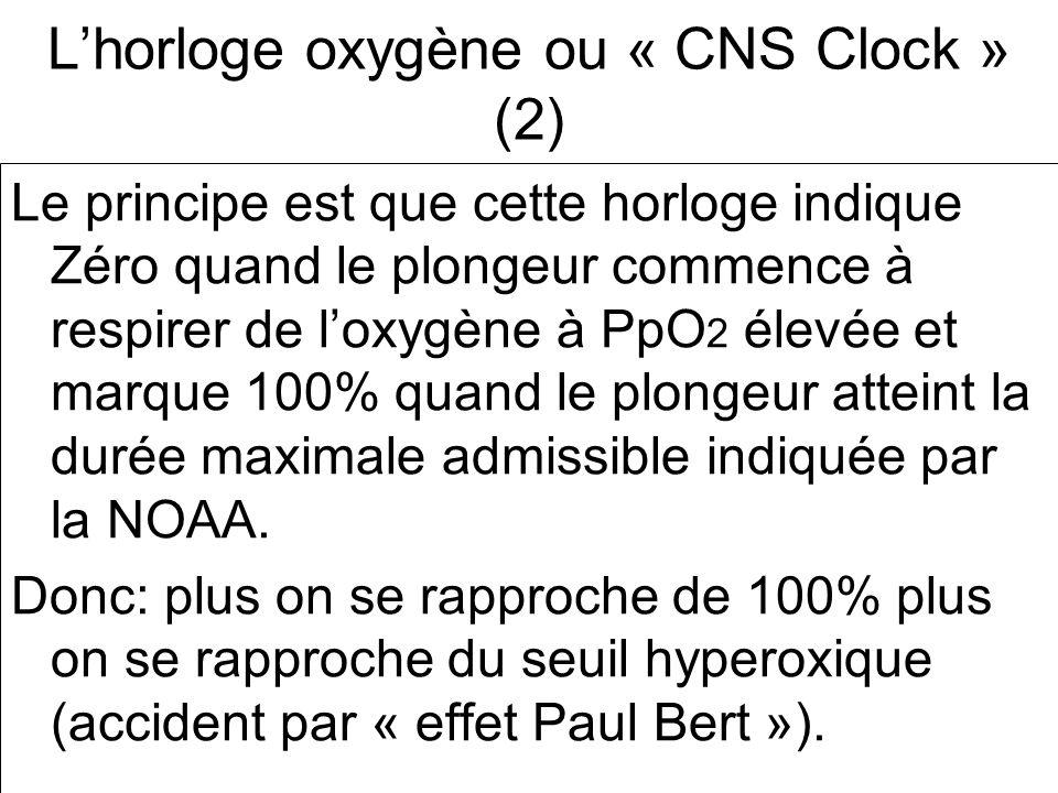 Lhorloge oxygène ou « CNS Clock » (2) Le principe est que cette horloge indique Zéro quand le plongeur commence à respirer de loxygène à PpO 2 élevée