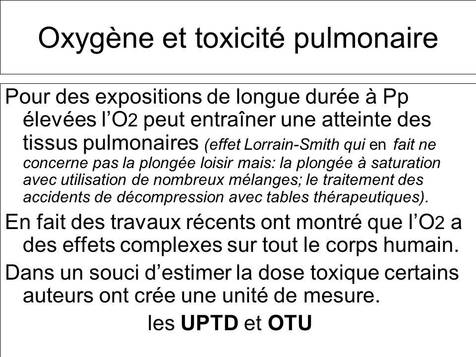 Oxygène et toxicité pulmonaire Pour des expositions de longue durée à Pp élevées lO 2 peut entraîner une atteinte des tissus pulmonaires (effet Lorrai