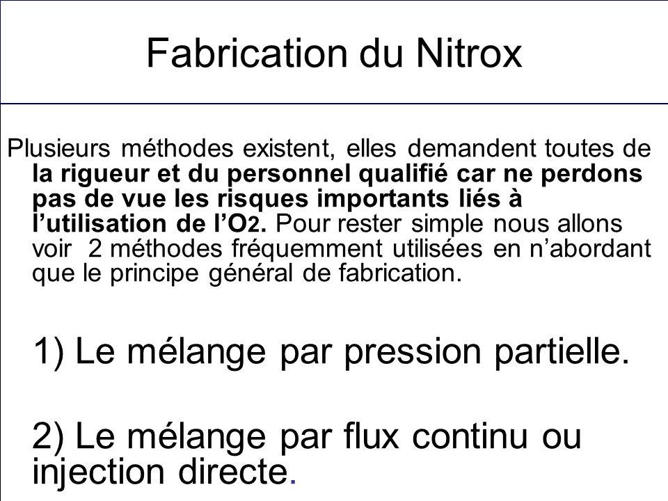 Fabrication du Nitrox Plusieurs méthodes existent, elles demandent toutes de la rigueur et du personnel qualifié car ne perdons pas de vue les risques