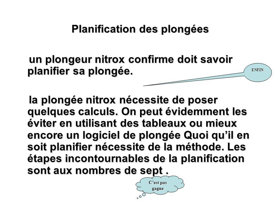 Planification des plongées un plongeur nitrox confirme doit savoir planifier sa plongée. un plongeur nitrox confirme doit savoir planifier sa plongée.