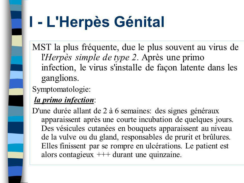 I - L'Herpès Génital MST la plus fréquente, due le plus souvent au virus de l'Herpès simple de type 2. Après une primo infection, le virus s'installe