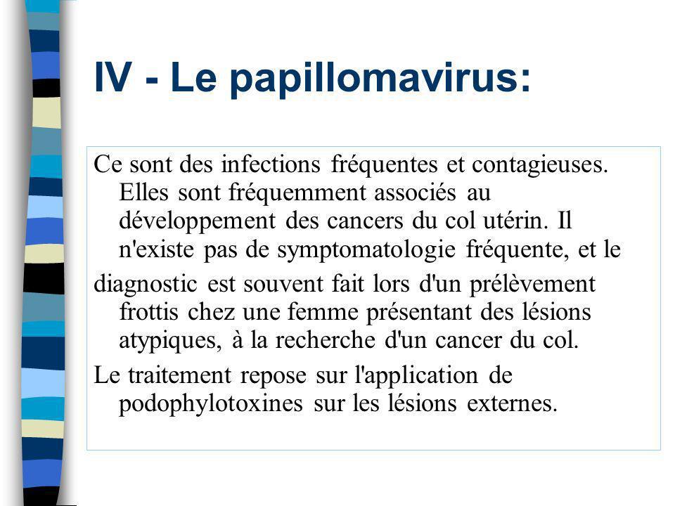IV - Le papillomavirus: Ce sont des infections fréquentes et contagieuses. Elles sont fréquemment associés au développement des cancers du col utérin.