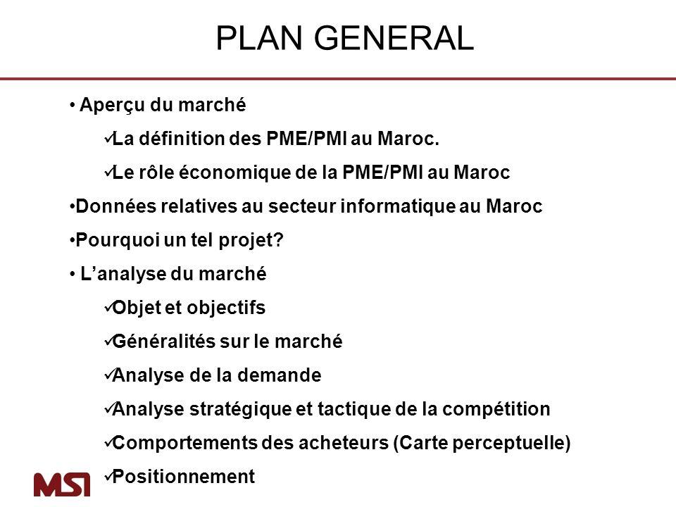 Aperçu du marché La définition des PME/PMI au Maroc. Le rôle économique de la PME/PMI au Maroc Données relatives au secteur informatique au Maroc Pour