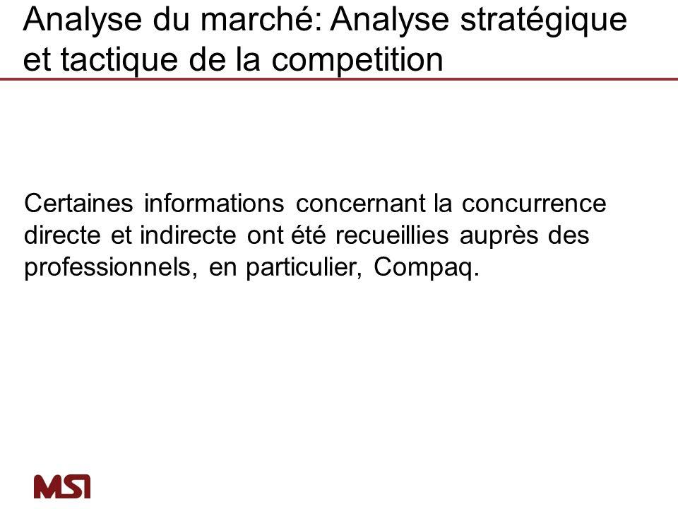 Certaines informations concernant la concurrence directe et indirecte ont été recueillies auprès des professionnels, en particulier, Compaq. Analyse d