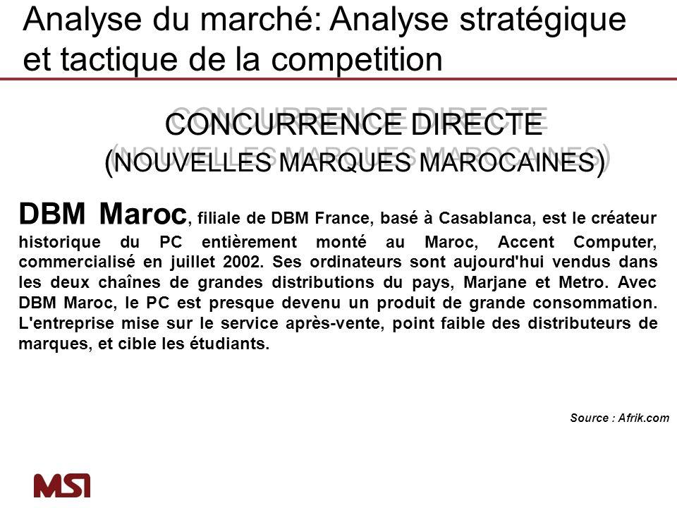 CONCURRENCE DIRECTE ( NOUVELLES MARQUES MAROCAINES ) CONCURRENCE DIRECTE ( NOUVELLES MARQUES MAROCAINES ) DBM Maroc, filiale de DBM France, basé à Cas