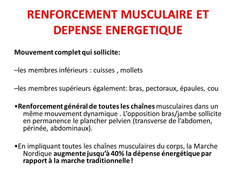 RENFORCEMENT MUSCULAIRE ET DEPENSE ENERGETIQUE Mouvement complet qui sollicite: –les membres inférieurs : cuisses, mollets –les membres supérieurs éga