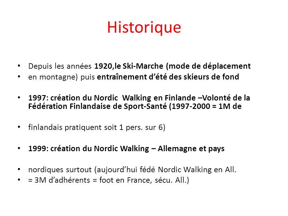 2000:premières actions en marche nordique en France (Arja Meyer ambassadrice de la Marche nordique à la FFA) 2007:7 millions de pratiquants dans le monde.