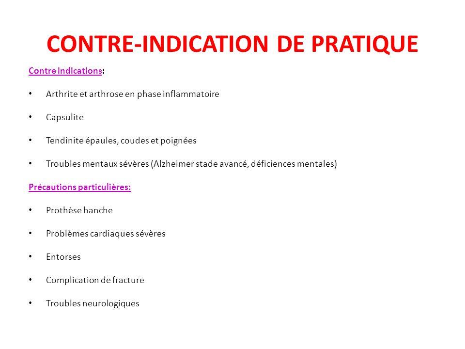 CONTRE-INDICATION DE PRATIQUE Contre indications: Arthrite et arthrose en phase inflammatoire Capsulite Tendinite épaules, coudes et poignées Troubles