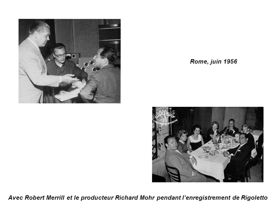 Avec Robert Merrill et le producteur Richard Mohr pendant lenregistrement de Rigoletto Rome, juin 1956