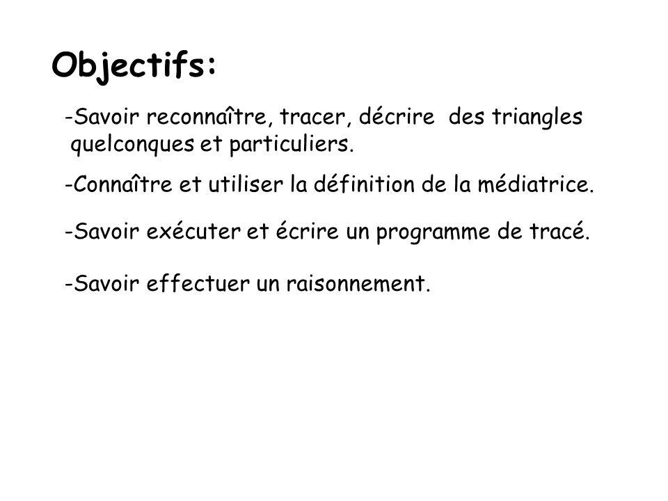 Objectifs: -Savoir reconnaître, tracer, décrire des triangles quelconques et particuliers. -Connaître et utiliser la définition de la médiatrice. -Sav