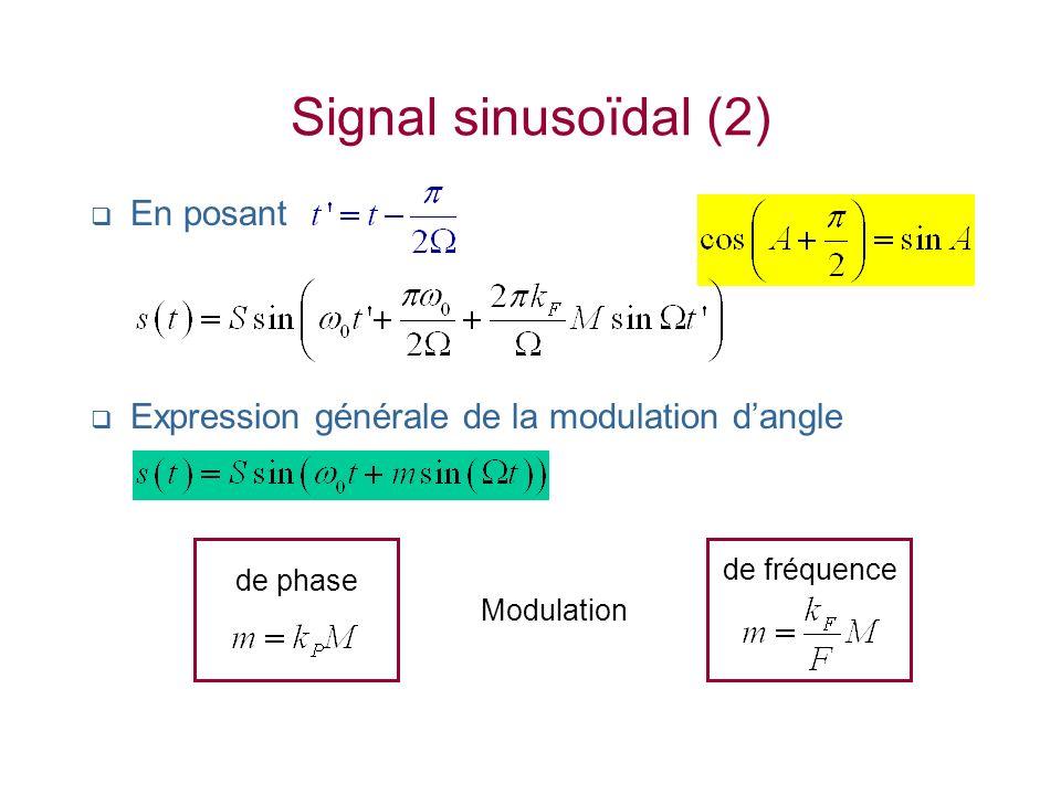 Signal sinusoïdal (2) En posant Expression générale de la modulation dangle Modulation de phase de fréquence