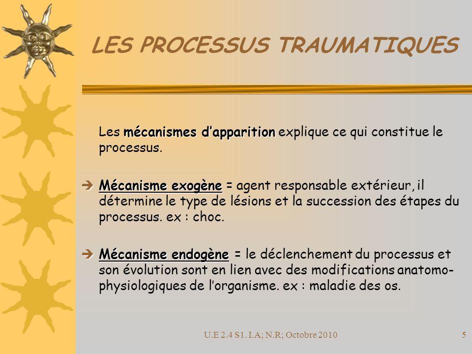 U.E 2.4 S1. I.A; N.R; Octobre 201026 LES PROCESSUS TRAUMATIQUES FIN