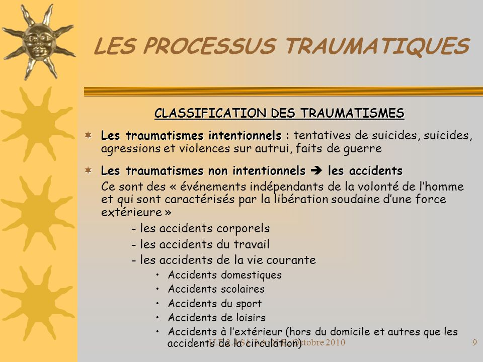 U.E 2.4 S1. I.A; N.R; Octobre 20109 LES PROCESSUS TRAUMATIQUES CLASSIFICATION DES TRAUMATISMES Les traumatismes intentionnels Les traumatismes intenti