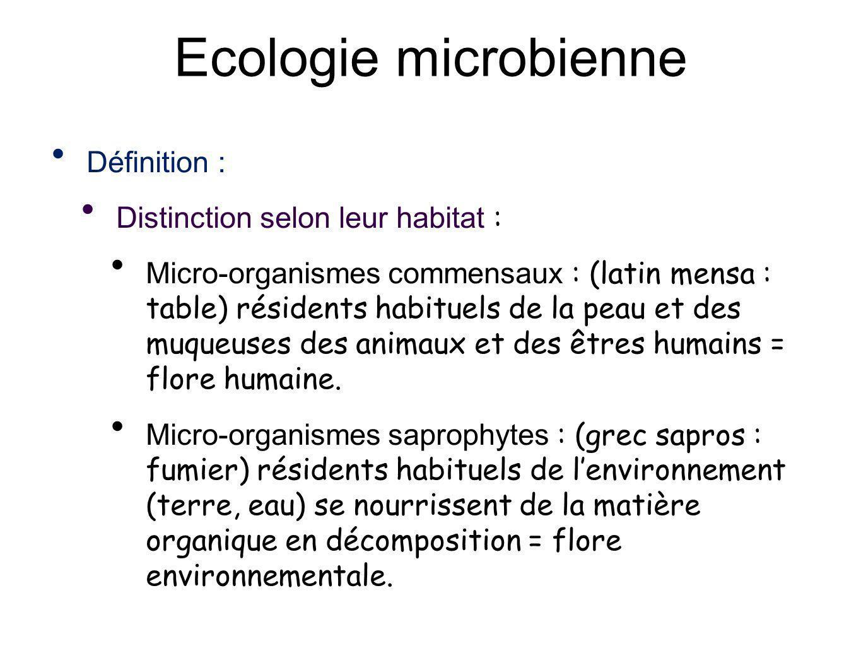 Ecologie microbienne Définition : Distinction selon leur habitat : Micro-organismes commensaux : (latin mensa : table) résidents habituels de la peau