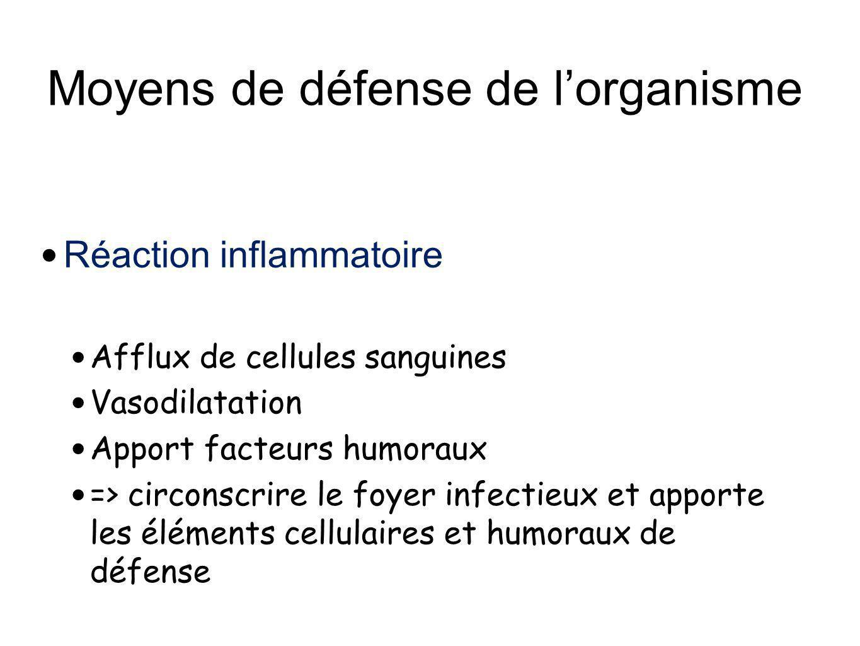 Moyens de défense de lorganisme Réaction inflammatoire Afflux de cellules sanguines Vasodilatation Apport facteurs humoraux => circonscrire le foyer i