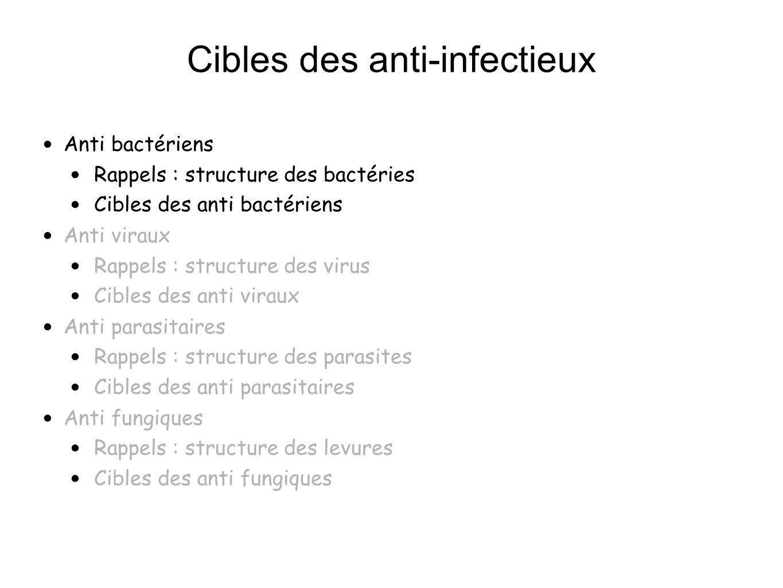 Cibles des anti-infectieux Anti bactériens : rappels structure des bactéries De 0,3 à 200 microns Structures constantes Chromosome : ADN circulaire Cytoplasme contenant les ribosomes, vacuoles...