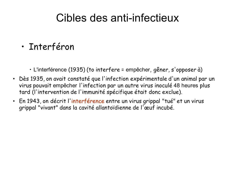 Cibles des anti-infectieux Interféron : (1957) À Londres, Isaacs et Lindenmann, reprenant le travail décrit vont expliquer l interférence : 1.à une culture de membrane chorio-allantoïdienne (mca) on ajoute une suspension de virus grippal tué par la chaleur.