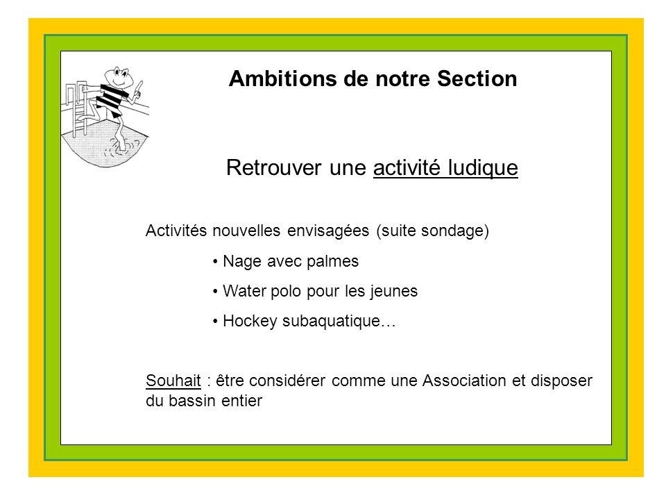 Ambitions de notre Section Retrouver une activité ludique Activités nouvelles envisagées (suite sondage) Nage avec palmes Water polo pour les jeunes Hockey subaquatique… Souhait : être considérer comme une Association et disposer du bassin entier
